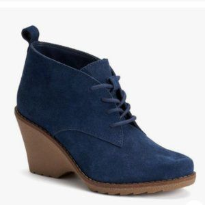 Sonoma Womens Wedge Suede Ankle Boots Kohls Navy 8